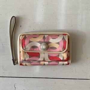 Coach zip around wristlet wallet